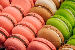 A french sweet delicacy, colourful macaroons variety closeup. Stock Photo