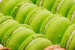 A french sweet delicacy, colourful macaroons variety closeup. Royalty Free Stock Image