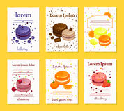 French sweet delicacy macaroons recipe cards. Templates. Food with chocolate and orange, lemon strawberry and cherry, vector illustration Royalty Free Stock Image