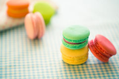 A french sweet delicacy, macaroons variety Royalty Free Stock Images