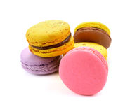 A french sweet delicacy, macaroons variety closeup. Cake macaron or macaroon on white background, sweet and colorful dessert stock images