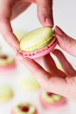 A french sweet delicacy macaroons variety closeup.macaroon colou Royalty Free Stock Image