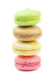 A french sweet delicacy, macaroons variety closeup. Royalty Free Stock Photos