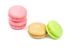 A french sweet delicacy, macaroons variety closeup. Royalty Free Stock Photo