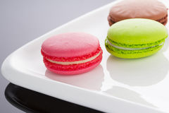 A french sweet delicacy, macaroons variety closeup Stock Images