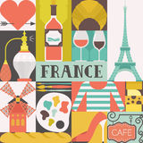 French Symbols. Collection of french symbols in square shapes with lettering. France concept. Visit Paris poster with eiffel tower, baguette and heart made in Royalty Free Stock Image