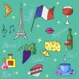French symbols pattern vector illustration Royalty Free Stock Photo