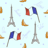 French symbols seamless pattern blue color Royalty Free Stock Images