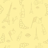 French symbols seamless pattern yellow color Stock Photography