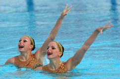 French synchro swimmers royalty free stock photography