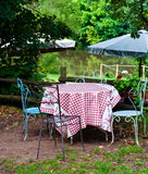 French table. Cafe table, gingham table cloth, France Royalty Free Stock Photos