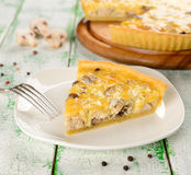 French tart with mushrooms and cheese Stock Photos
