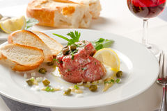 French tartar with fresh juicy meat from young bull Royalty Free Stock Image