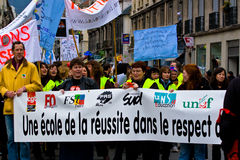 French Teachers Strike. Teachers strike in France over massive job cuts. Location: Grenoble, France Stock Photos