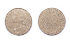 French ten Centimes coin 1983 Royalty Free Stock Photo