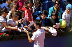 French tennis player Edouard Roger-Vasselin. Autograph signing after of a match of Barcelona tennis tournament Conde de Godo on April 24, 2013 in Barcelona Royalty Free Stock Photos