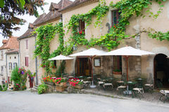 French terrace in village Stock Photos