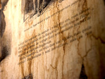 French text. A paragraph of an old French text in a newspaper. Dating back to the 17th century Royalty Free Stock Photo