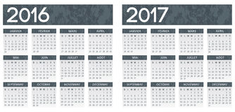 French textured grey calendar 2016 2017. Vector two layer text and background royalty free illustration
