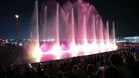 French theatre water Aquatic. SOCHI, KRASNODAR KRAY, RUSSIA - JUL 31, 2015: French theatre water Aquatic demonstration night laser show fountains in the stock video footage