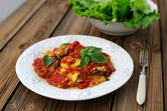 French tian with tomato, zuccini and aubergine garnished with fr. Esh basil Stock Images