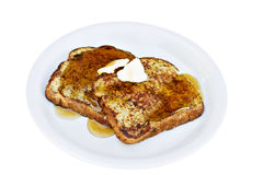 French toast. Made from raisin bread with syrup and butter. Shallow DOF. Clipping path included Royalty Free Stock Photo