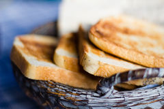 French Toast. Photograph of a basket of crisp french toast Royalty Free Stock Images