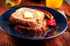 French Toast. Sausage accompanies French toast in a delicious breakfast Stock Photography