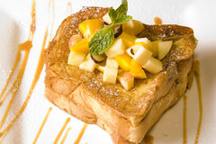 French toast. Topped with some fruit royalty free stock photo