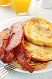 French Toast with Bacon royalty free stock images