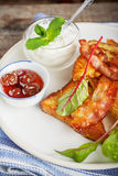 French toast with bacon for breakfast Royalty Free Stock Images