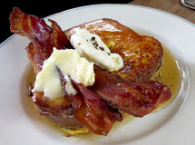 French toast with bacon and syrup Stock Images