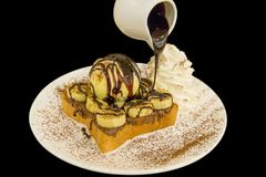 Nutella banana French Toast with ice-cream, sprinkle with cocoa powder stock photos