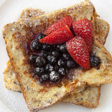 French Toast with Berries. Delicious blueberries and strawberries Stock Photos