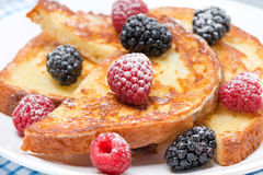 French toast with berries Royalty Free Stock Images