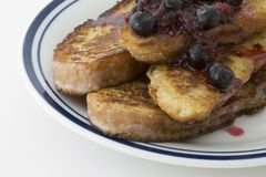 French toast with berry sauce Royalty Free Stock Photos