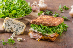 French toast blue cheese salad and ham Royalty Free Stock Images