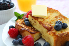 French toast. With blueberries and butter royalty free stock photo