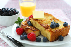 French toast. With blueberries and butter stock photos