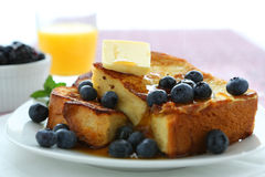 French toast. With blueberries and butter stock image