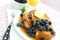 French toast. With blueberries and butter stock photo