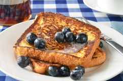 French toast and blueberries closeup Stock Photography