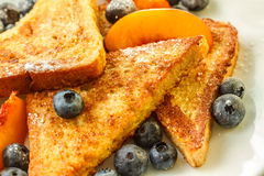 French toast. With blueberries and nectarine Stock Images