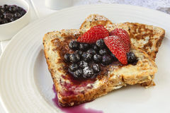 French Toast with Blueberries and Strawberries Stock Photos