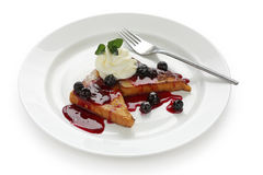 French toast with blueberry sauce Royalty Free Stock Images