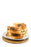 French toast bread on eggs isolated over white background Royalty Free Stock Photography