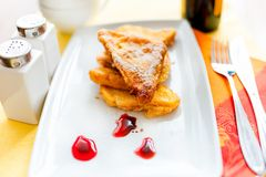 French toast with butter and gem at breakfast Royalty Free Stock Photography