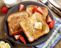 French toast with butter and honey Royalty Free Stock Photo