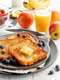French toast with butter and honey Stock Image