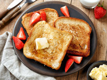 French toast with butter and honey Royalty Free Stock Images